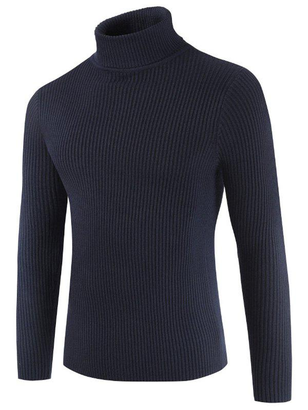 Solid Color Embossment Stripe Sweater - DARK SLATE BLUE S