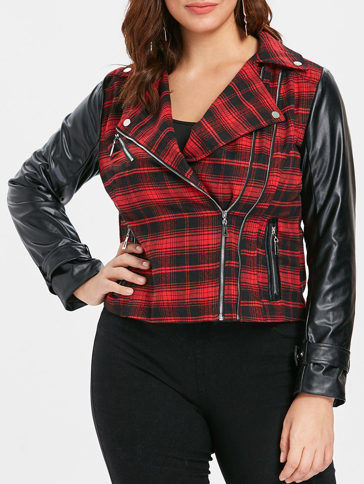 Plus Size Plaid Faux Leather Insert Zippered Jacket - RED WINE L