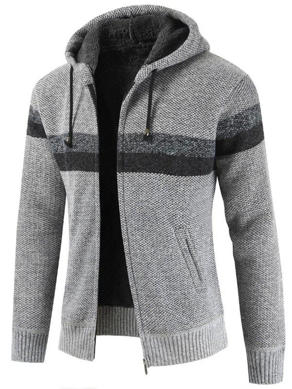 Striped Casual Zipper Hoodie Sweater - LIGHT GRAY XS