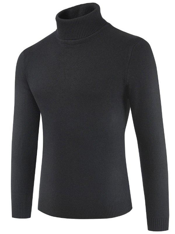 Turtle Neck Casual Slim Sweater - BLACK XL