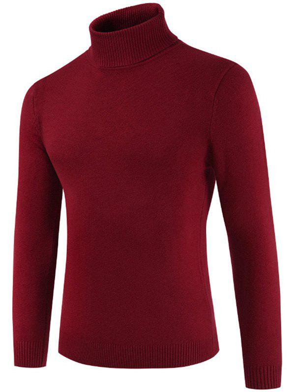 Turtle Neck Casual Slim Sweater - CHESTNUT RED M