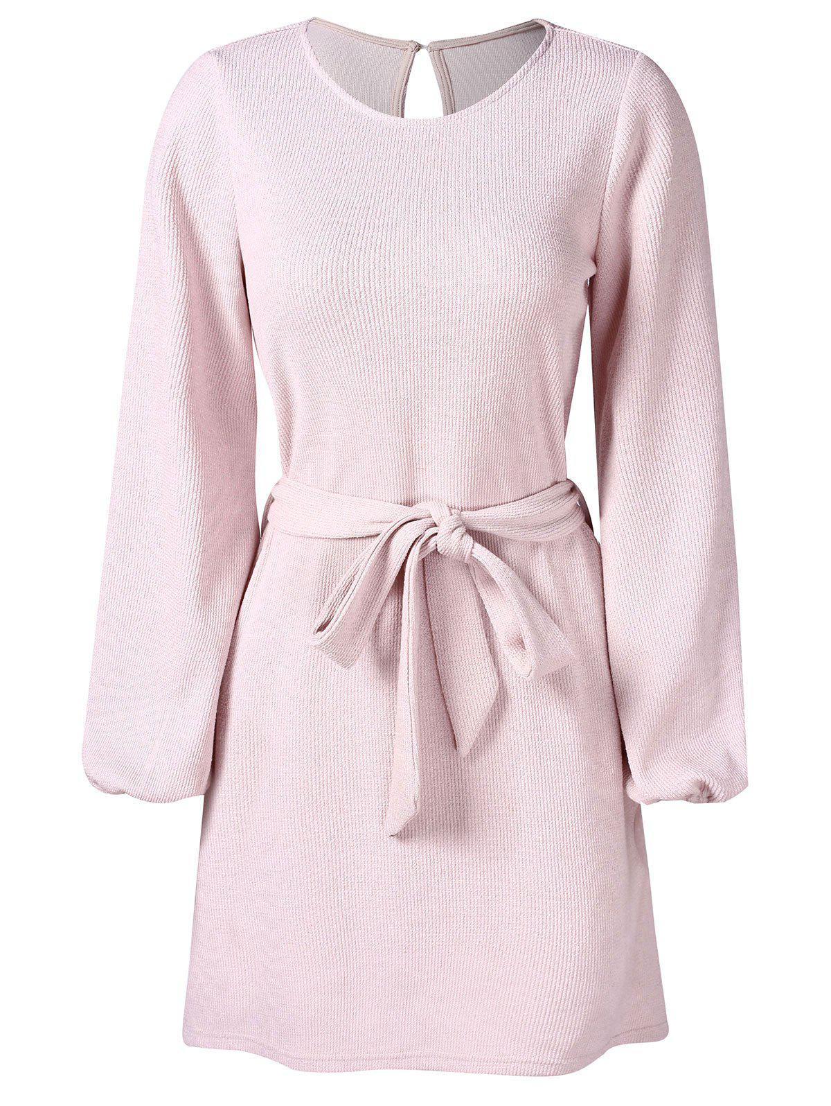 Long Sleeve Belted Dress - LIGHT PINK M