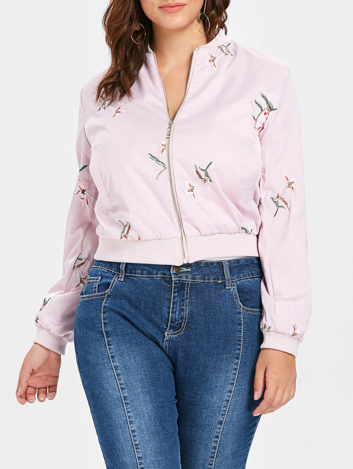 Plus Size Embroidery Pilot Jacket - PIG PINK L