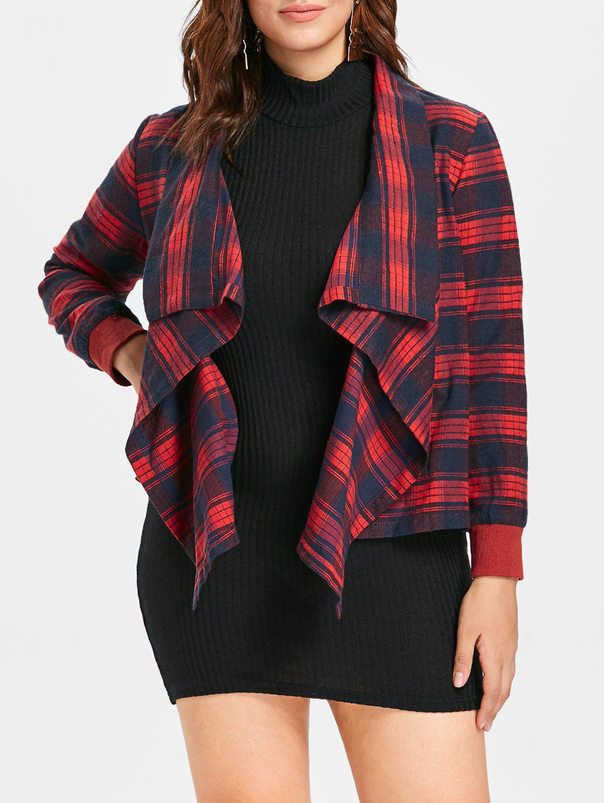 Plus Size Plaid Draped Jacket - RED 4X