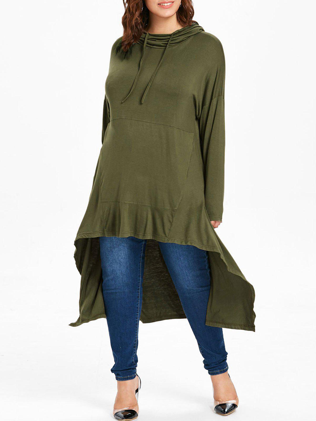 Plus Size Drawstring High Low Long Hoodie - ARMY GREEN 2X