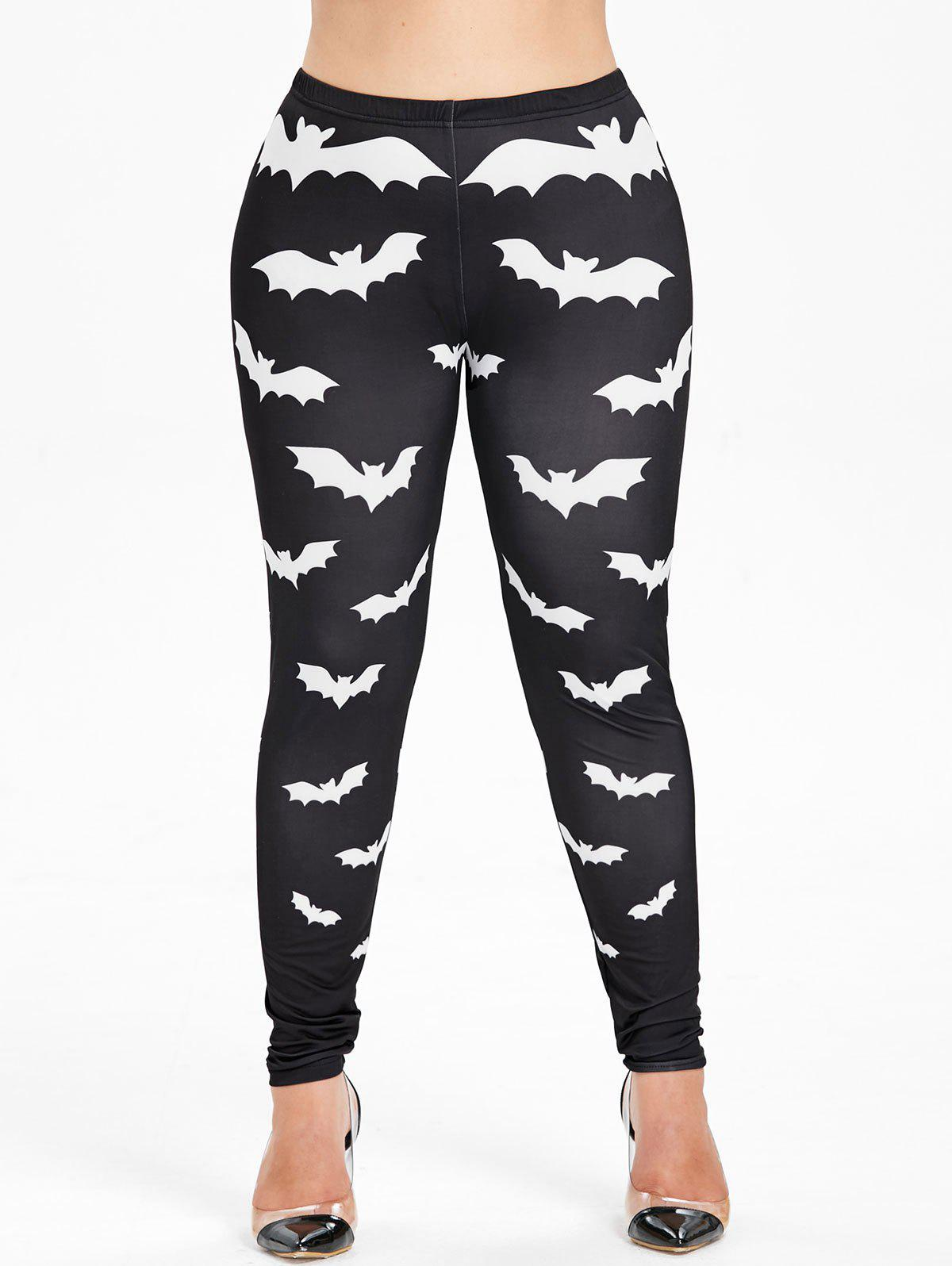 Halloween Plus Size Bat Pattern Leggings - BLACK 2X