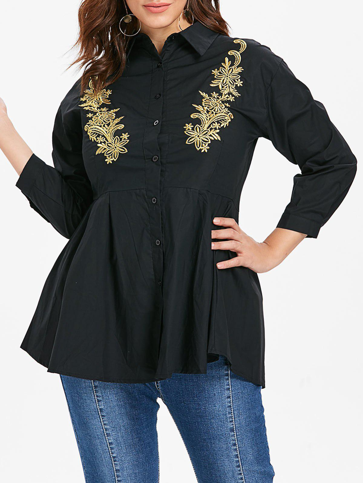 Plus Size Front Embroidery Shirt - BLACK 4X