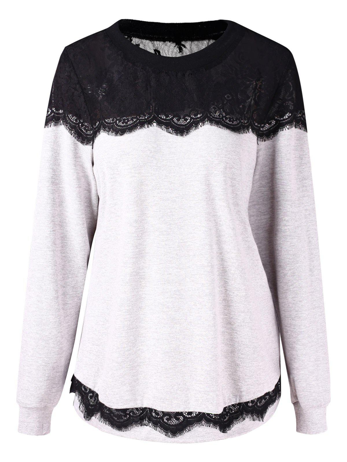 Plus Size Eyelash Lace Sweatshirt