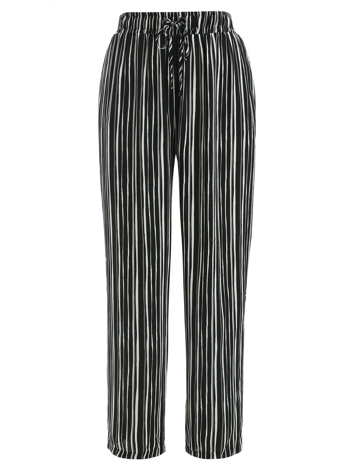 Striped Print Straight Pants - BLACK L