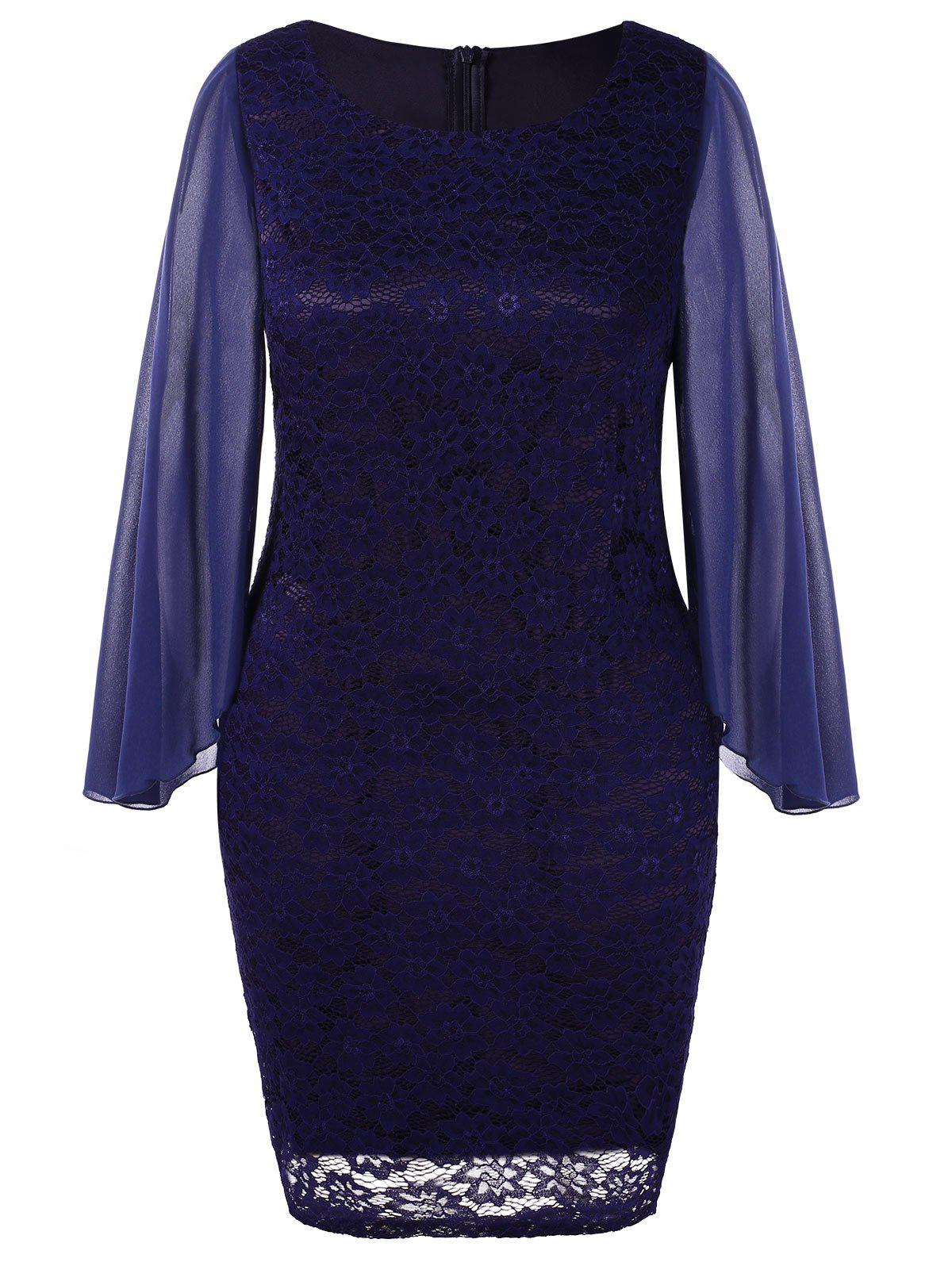 Plus Size Long Sleeve Lace Dress - DEEP BLUE 1X