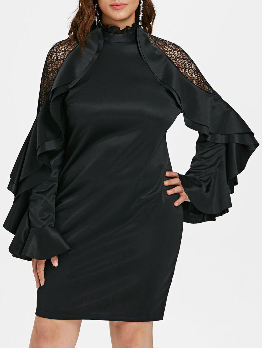 Ruffle Neck Plus Size Flare Sleeve Bodycon Dress - BLACK 4X