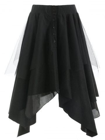 Mesh Panel Faux Suede Long Handkerchief Skirt
