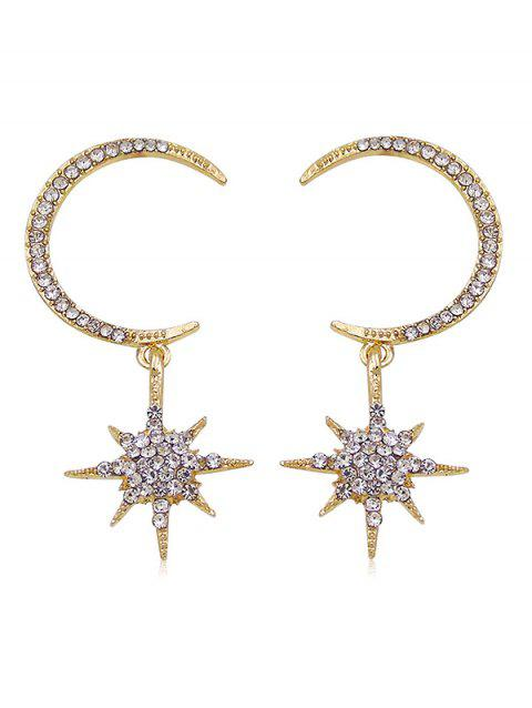 Sparkly Rhinestone Inlaid Star Party Gift Earrings - GOLD