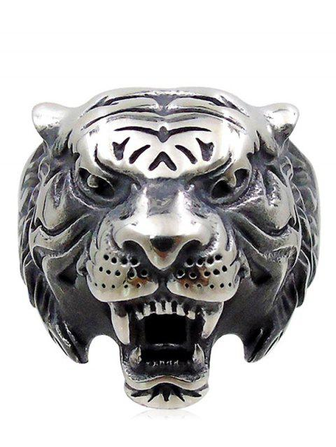 Unique Carved Tiger Metal Punk Ring - SILVER US 9