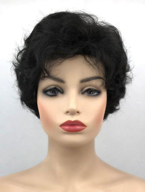 Inclined Bang Fluffy Short Slightly Curly Synthetic Wig - BLACK