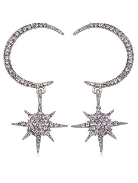 Sparkly Rhinestone Inlaid Star Party Gift Earrings - SILVER