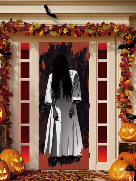 Halloween Ghost Pattern Door Stickers - multicolor 2PCS X 15 X 79 INCH