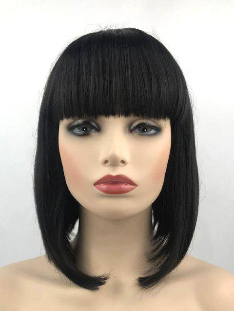 Full Bang Synthetic Short Straight Bob Wig - BLACK