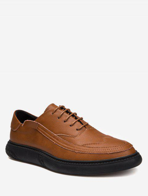 Lace Up Sewing Business Sneakers - BROWN EU 40