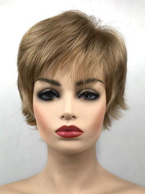 Synthetic Short Side Bang Straight Wig - CHAMPAGNE GOLD