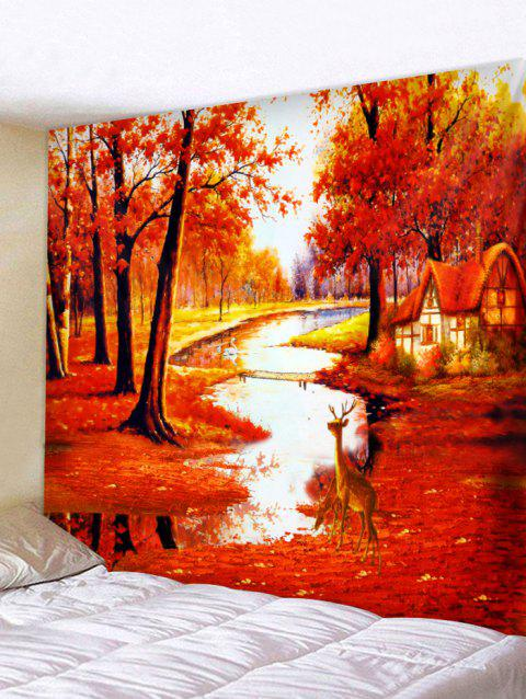 Maple Forest Deer Pattern Wall Tapestry Art Decoration - 红色 W71 X L71 INCH