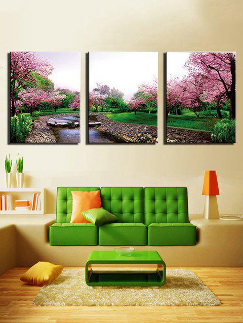 Flower Tree Forest Print Unframed Canvas Paintings - multicolor 3PCS X 24 X 35 INCH( NO FRAME )