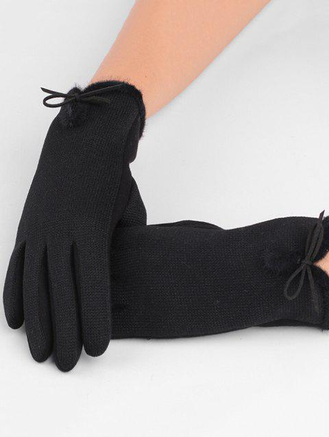 Outdoor Bowknot Thicken Winter Gloves - BLACK