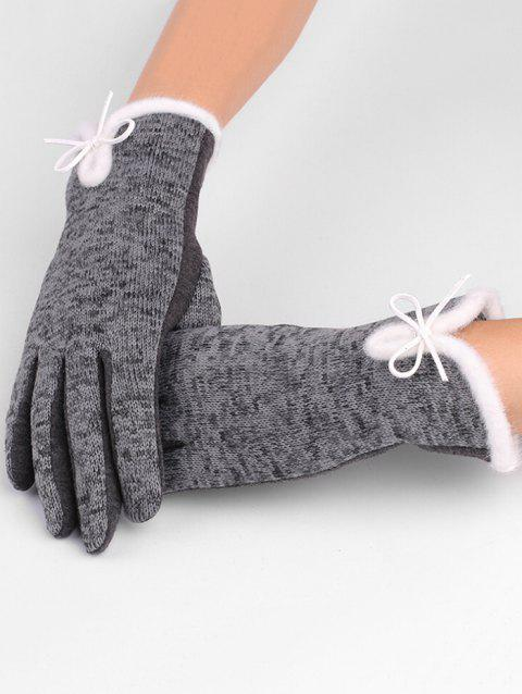 Outdoor Bowknot Thicken Winter Gloves - SMOKEY GRAY