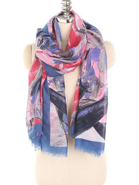 Winter Painting Floral Fringed Long Scarf - TYRIAN PURPLE