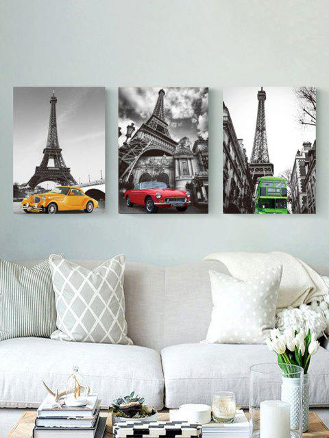 Eiffel Tower Car Print Unframed Canvas Paintings - multicolor 3PCS X 24 X 35 INCH( NO FRAME )