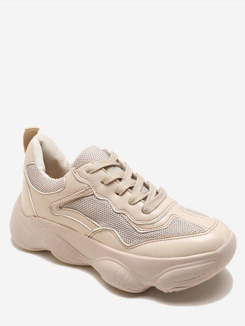 Lace Up Breathable Chunky Sneakers - BEIGE EU 35