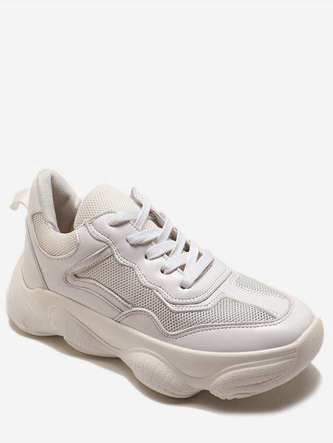 Lace Up Breathable Chunky Sneakers - WHITE EU 36