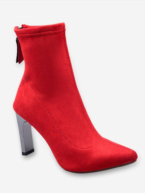 Chunky Heel Pointed Toe Suede Ankle Boots - LAVA RED EU 38