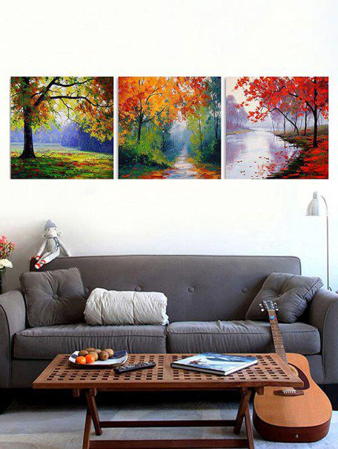 Maple Forest Print Unframed Canvas Paintings - multicolor 3PCS X 16 X 16 INCH( NO FRAME )