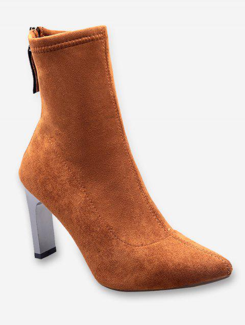 Chunky Heel Pointed Toe Suede Ankle Boots - BROWN EU 35