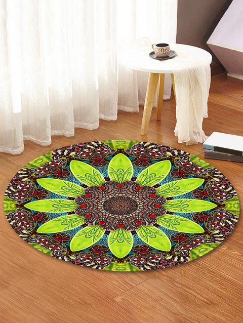 Mandala Flower Leaf Decorative Round Floor Rug - YELLOW GREEN 80CM (ROUND)