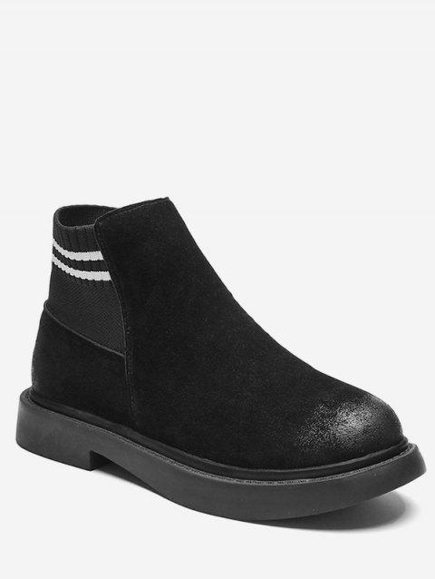Striped Slip-on Suede Ankle Boots - BLACK EU 35