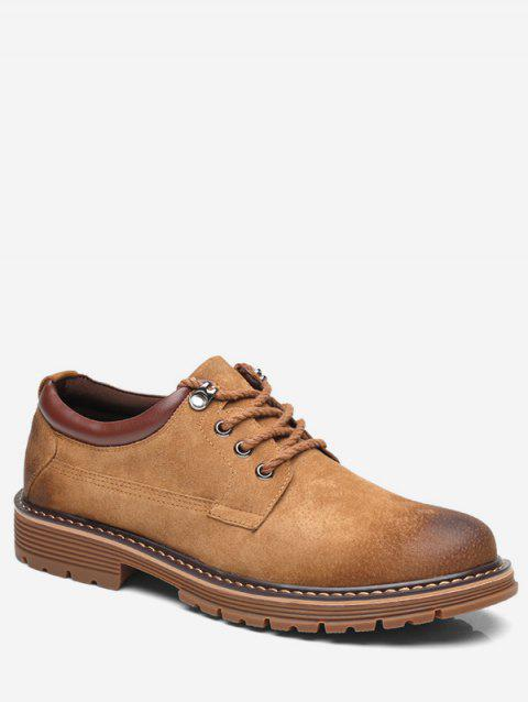 Lace Up Low Top Sneakers - BROWN EU 42