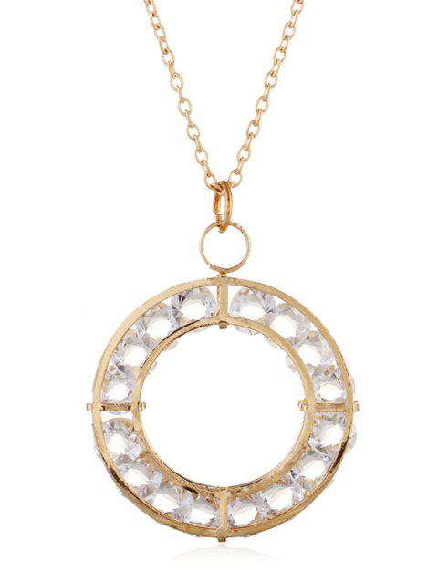 Rhinestone Round Shape Pendant Chain Necklace - GOLD