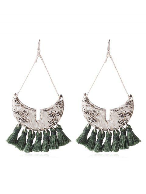 Boho Fringed Metal Hook Earrings - DARK GREEN
