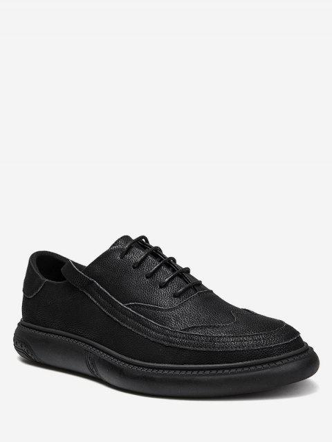 Lace Up Sewing Business Sneakers - BLACK EU 43