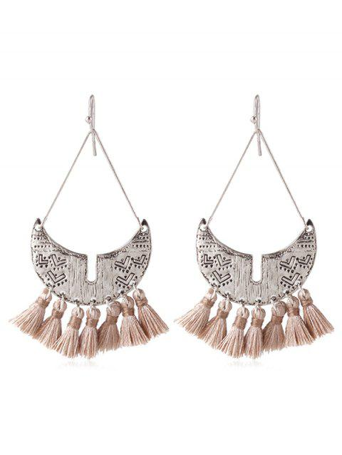 Boho Fringed Metal Hook Earrings - LIGHT KHAKI
