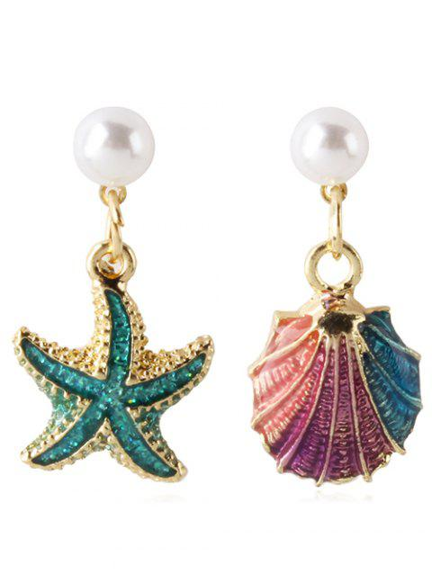 Asymmetric Starfish Shell Shape Artificial Pearl Earrings - multicolor