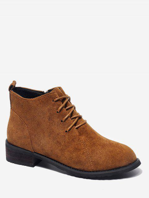 Tie Up Low Heel Suede Ankle Boots - BROWN EU 36