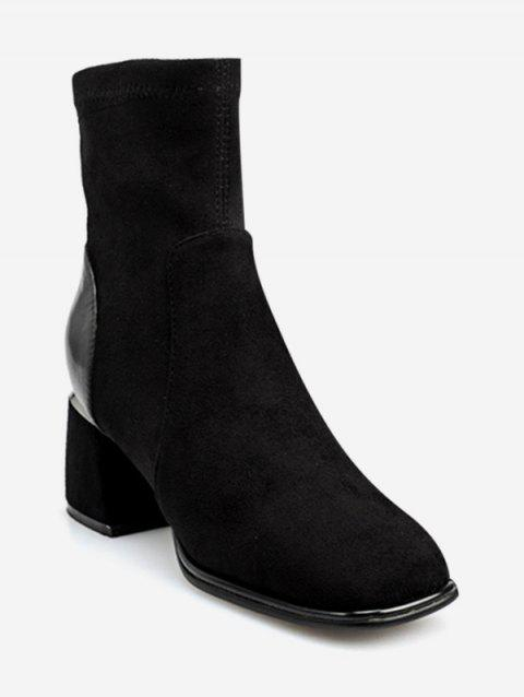 Square Toe Block Heel Ankle Boots - BLACK EU 36
