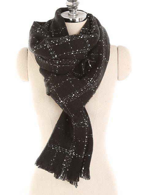 Winter Checked Pattern Fringed Long Scarf - BLACK