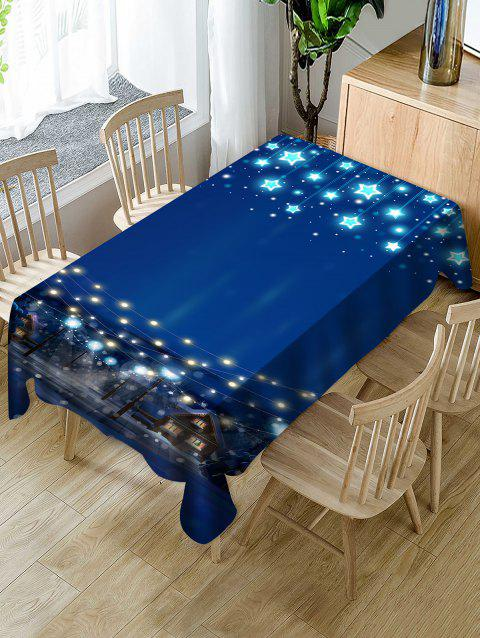 Christmas Starry Night Print Waterproof Tablecloth - BLUE W54 X L72 INCH