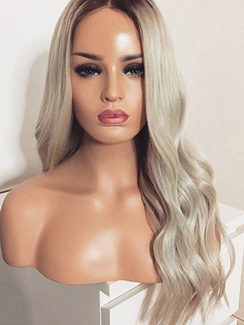 Long Party Center Parting Ombre Wavy Synthetic Wig - multicolor