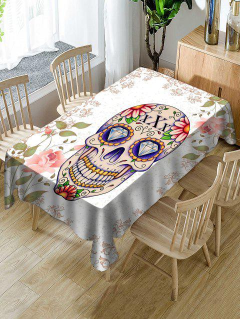 Halloween Skull Floral Print Waterproof Tablecloth - WHITE W54 X L72 INCH