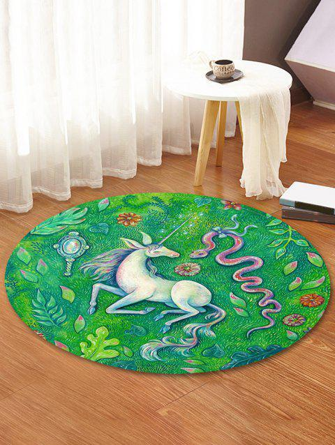 Unicorn Snake Decorative Round Floor Rug - GREEN APPLE 120CM (ROUND)